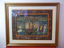 Traditional Vintage HandPainted on Silk India Indian Ceremony Wedding Cow Framed