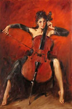 ZOPT326 playing cello lady portrait art hand painted oil painting art canvas
