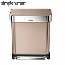 simplehuman 30 Litre Rectangular Pedal Bin & Liner Pocket Rose Gold CW2032