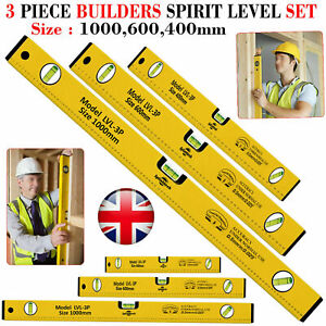 Spirit Level 3 Piece Professional Builders Aluminium DIY Long Set 400 600 1000mm