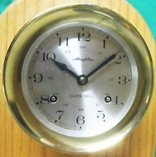 """CLOCK & STAND - Nautical - Brass Key-Wind  5"""" - On Oak Stand -- AIRGUIDE"""