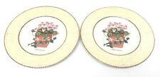Two (2) Wedgwood Sarah's Garden Yellow set Salad Plates Viola