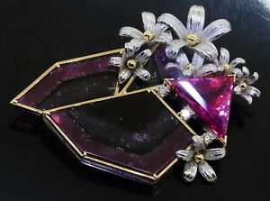 Vintage Platinum/18K YG 20.57CT diamond watermelon pink tourmaline flower brooch