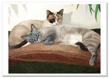 ART Persis Clayton Weirs Two CATs on Sofa Felin Modern Postcard #66