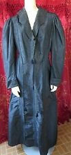 1880s Antique Black Silk Long Fitted Women's Coat-Dress Hand Stitch 38 Bust