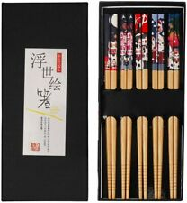 5 Pairs Natural Reusable Bamboo Chopsticks, Japanese Style Fortune Cat Print Cho