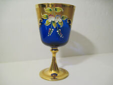 STUNNING Bohemian GOBLET Cobalt Blue Glass Hand Painted Floral GOLD 420 ? * RARE