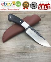 Handmade Knife Forged Damascus Pattern Steel Hunting Survival Leather Sheath