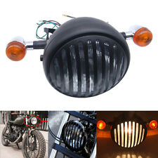 "6.5"" Retro Motorcycle Headlight Grill Side Mount Cover W/ Bracket Cafe Racer"