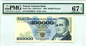 POLAND 100,000 ZLOTYCH 1990 NATIONAL BANK  PICK  154 a LUCKY MONEY VALUE $320