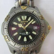 CITIZEN PROMASTER MEN'S WATCH QUARTZ ALL TITANIUM CASE & BAND JAPAN AQ0314-55E