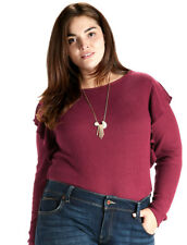 LUCKY BRAND ~ 2X ~ NWT Women's Burgundy Red Ribbed Ruffle Sweater Top