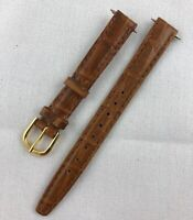 Kreisler Crocodile Grain Calfskin 11mm Whiskey Stitched Leather Watch Band W165