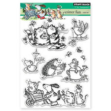 New Penny Black CRITTER FUN Clear Stamp Mice Cat Smile Presents Butterfly Garden