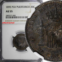 Puerto Rico Alfonso XIII Silver 1895 PGV 20 Centavos NGC AU55 Rainbow Toned KM22