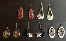 5 Pairs Vintage Cloisonné Earrings