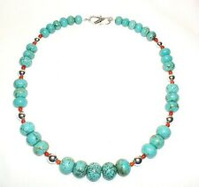 """Large Beads Graduated Rondelle Turquoise Necklace with Silver Beads 24"""""""