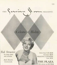 1955 Celeste Holm Ted Straeter The Persian Room at The Plaza PRINT AD