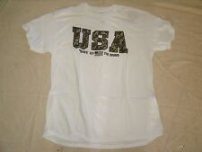 Gildan Heavy Cotton White T-Shirt Men's Large USA Home of the Brave Flag
