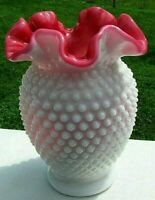 "Fenton Vintage Peach Blow Milk Glass Hobnail Crimped  Vase 6"" MINT HTF"
