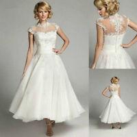 New White/Ivory Cap Sleeve Lace Short Bridal Gown Wedding Dress Custom Size 6-20