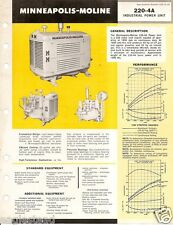 Equipment Brochure - Minneapolis-Moline - 220-4A Engine Power Unit c1964 (E1781)