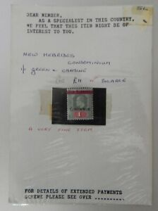 New Hebrides 1908 SG9 1s green and carmine. MH
