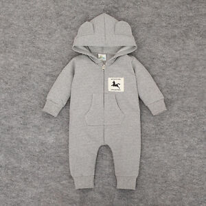 NEW BABY ANIMAL HOODED OUTFIT BABYGROWS BOYS GIRLS OUTERWEAR CLOTHES TOP
