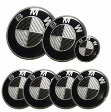 BMW complete Set 7x (82+74+68+45mm) Carbon Fiber Black/White Emblem Logo e46 e90