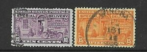 USA 1922 - 2 X SPECIAL DELIVERY Delivery by Motor Cycle SG E648a & E650 - Fine