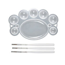 Dish Paint Palette Plate with 3pcs White Nail Brush Pens  LW