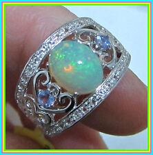 Ethiopian Welo Opal Tanzanite White Topaz Ring Sterling Silver 925 size 7