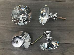 Handles Crystal Glass Diamante Set of 4 Door Drawer Cabinet 40mm Knob Kitchen