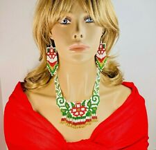 NATIVE STYLE  ETHNIC HANDCRAFTED FLOWER RED BEADED NECKLACE EARRINGS SET S17/22