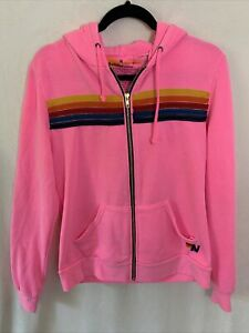 Aviator Nation 5 Stripe Hoodie Sweatshirt in Neon Pink Size Medium M Full Zip