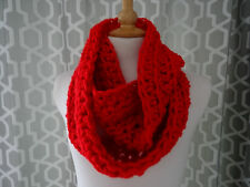 super chunky snood / infinity scarf hand crafted crochet red gift