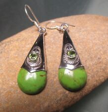 Sterling silver drop cabochon Mohave turquoise & cut peridot earrings. Gift Bag.
