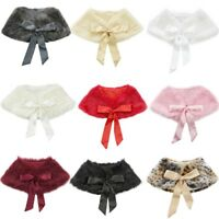 Girls Kids Faux Fur Jacket Wrap Shrug Bolero Coat Shawl Princess Wedding Cloak