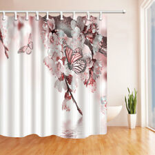 Spring Pear Flower Butterfly Bathroom Shower Curtain Waterproof Fabric / 12 Hook