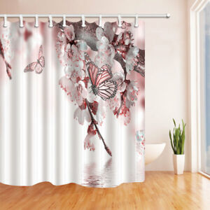 Spring Pear Flower Butterfly Bathroom Shower Curtain Waterproof Fabric / 12 Hook