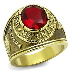 Gold Plated Simulated Ruby CZ US Marines Mens Wide Band Ring sz 9,10,11,12,13