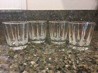 Vintage Low Ball Gold And White Raindrop Glasses Set Of 4