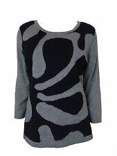 Alfani Women's Abstract 3/4 Slv Scoop Nk Zipper Bk Sweater Pewter L