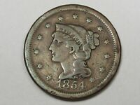 1854 US Braided Hair Large Cent Coin.  #21