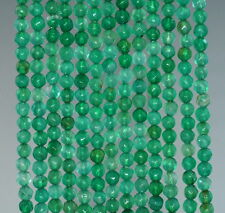 """4MM  AGATE GEMSTONE GRASS GREEN FACETED ROUND LOOSE BEADS 15"""""""