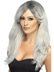 Halloween Grey Ghostly Glamour Wig with Dark Roots Pk 1