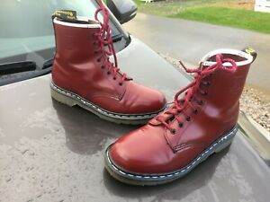 Dr Martens 1460 cherry red leather boots UK 8 EU 42 Made in England  WHUFC