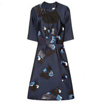 Erdem Midnight Blue Embroidered Lace Neckline Liza Duchess Dress UK12 IT44