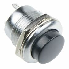 Black Off-(On) Metal Low Profile 16mm Round Momentary Push Button Switch 3A SPST