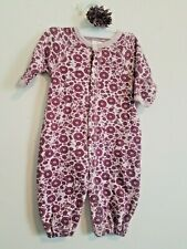 BABY GIRLS NB BABY STEPS PURPLE FLORAL JUMPSUIT ROMPER & HAIR BOW! EUC!